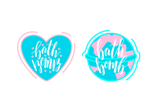 Round and heart-shaped bath bomb illustration with lettering text. Home spa relaxation cosmetics. Design elements for packaging, banners, poster. Calligraphic inscription.