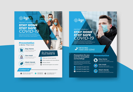 COVID-19 Flyer Layout Pack with Blue Accents
