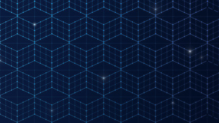 Seamless 3d cubes or blocks, data connection network on dark blue background. Abstact geometric isometric projection in 4k resolution.