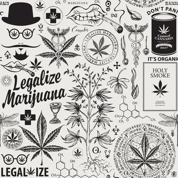 Vector seamless pattern in retro style on the theme of marijuana legalization. Black and white repeatable background with hand-drawn hemp leaves, cannabis plant, hipster face and other sketches