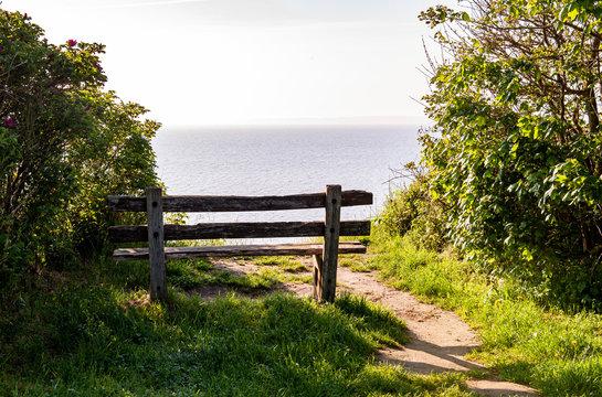 Sitzbank an der Steilküste bei Waabs/Langholz, Ostsee, Eckernförder Bucht, Halbinsel Schwansen, Schleswig-Holstein, Deutschland