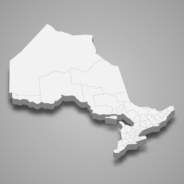 Ontario 3d map province of Canada Template for your design
