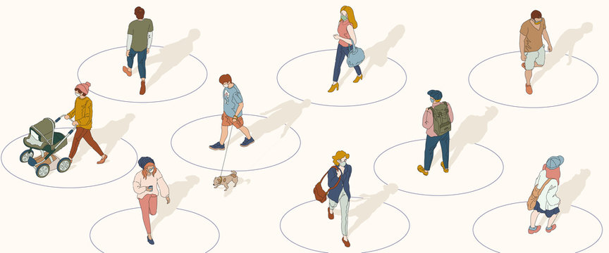 Social distancing concept Background. People keep the distance from each other in public to protect from COVID-19. Hand-drawn vector illustration.