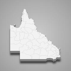 Fototapeta queensland 3d map state of Australia Template for your design obraz