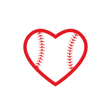 Heart baseball ball icon. Clipart image isolated on white background