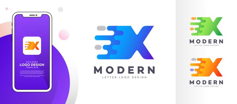Letter X liquid abstract geometric logo design illustration. Fluid gradient elements. Mobile app UI style mock-up. Futuristic trendy dynamic company business logo design. Vector EPS template