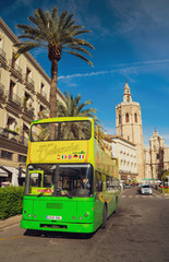 Valencia, Spain: Decembre 2, 2018: tourist bus in the old part of Valencia, sightseeing