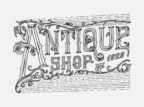 Antique frame label. Vintage card. Shop badge. Victorian ancient western logo for t-shirt and typography. Hand drawn engraved old sketch.