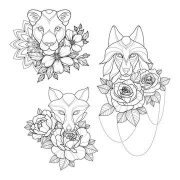 Set of three tattoo sketch with panther, wolf, fox, flowers and mandala for Henna drawing and tattoo template. Animal tattoo. Vector illustration