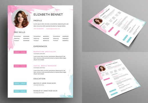Creative Resume Layout with Brushstroke Graphic Elements