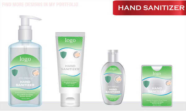 Different types of Hand sanitizer with label design. Packaging design. Advertising of hand sanitizer.