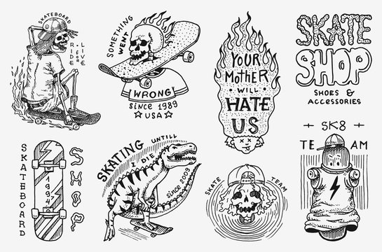 Skateboard shop badges set. Dinosaur and skeletons ride on the boards concept. Fiery head and skull. Vintage retro labels for t-shirts and typography. Hand Drawn engraved sketch.