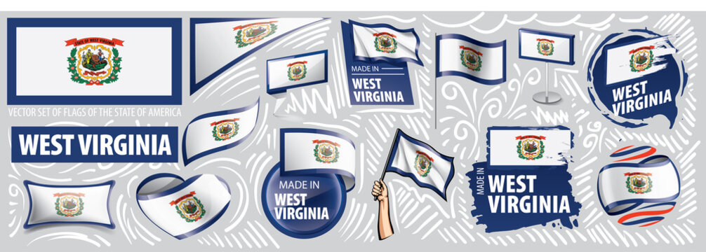 Vector set of flags of the American state of West Virginia in different designs