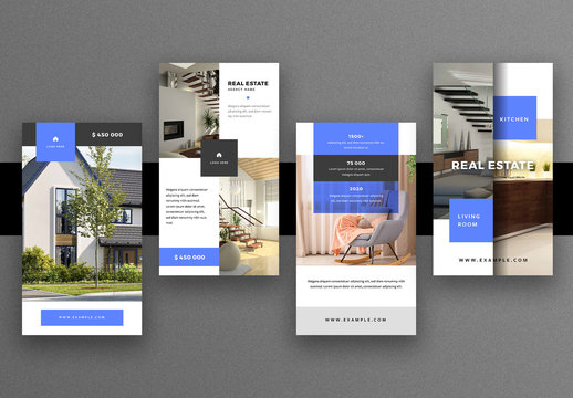 Real Estate Social Media Stories Layout with Blue Accents