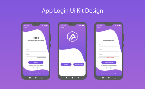 Login screen and Sign In form template for mobile app or website design. UI, UX, user interface kit, smartphone application design. Flat and minimal style Wireframe mobile app ui kit mobile app. Login