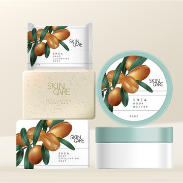 Vector Shea Butter Body Scrub and Hand or Facial Cleansing Soap & Body Butter Jar Packaging with Minimal Shea Butter Nuts Illustration Print.