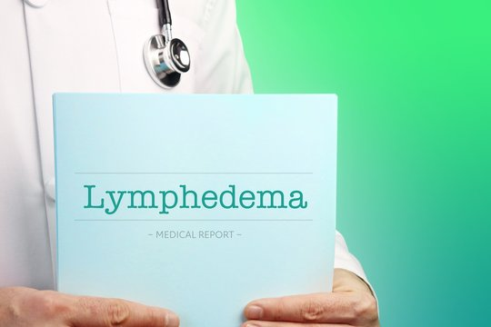 Lymphedema. Doctor holds documents in his hands. Text is on the paper/medical report. Green background.