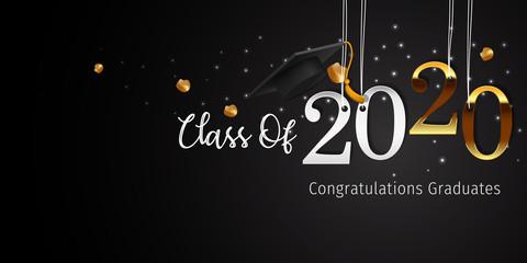 2020 Graduation with Cap Vector. Class of 2020 Year Graduation Banner. Banner for Graduation Greeting Card. Lettering Class of 2020 for Greeting and Invitation Card. Fotobehang