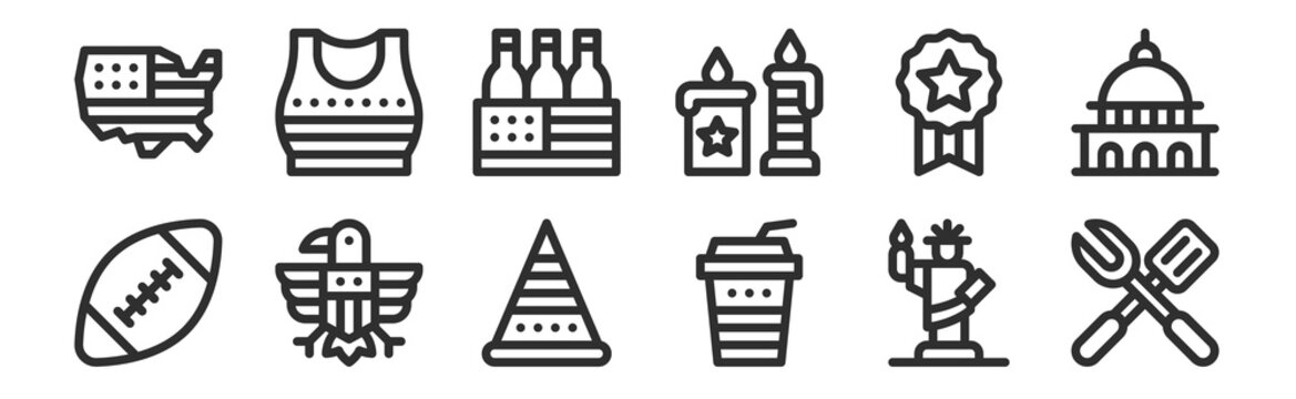 set of 12 thin outline icons such as barbecue, soft drink, eagle, usa, beer box, crop top for web, mobile