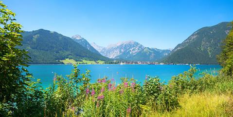 beautiful lake Achensee in summer, view to tourist health resort Pertisau