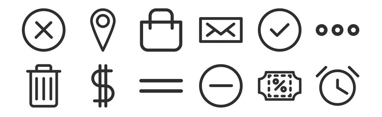 set of 12 thin outline icons such as timer, minimize, dollar, check, bag, tag for web, mobile