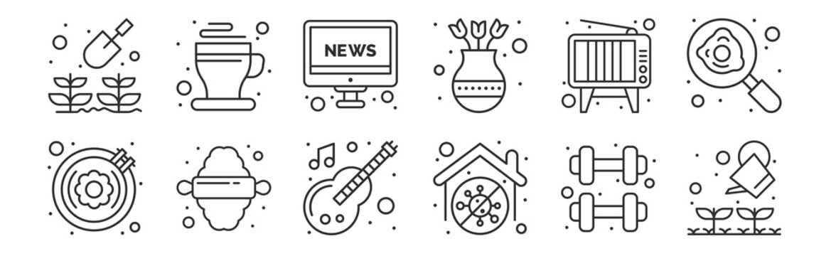 set of 12 thin outline icons such as gardening, stay at home, rolling, television, news report, hot cup for web, mobile