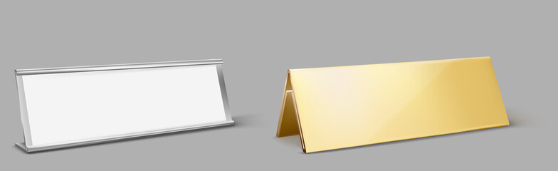 Table card holder, empty name plate. Vector realistic mockup of golden and metal stand for identification tag for events, steel and gold frames for nameplate isolated on gray background