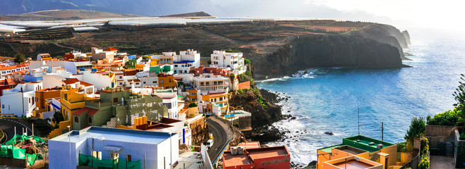 Fotobehang Noord Europa Grand Canary island. traditional architecture, colorful houses, Puertito de Sardina in north,scenic coastal village.