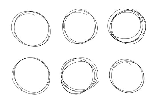 Hand drawn line circle black sketch set. Vector circular pen round circles for message note mark design element. Pencil or pen bubble or ball hand draft illustration isolated in white background.