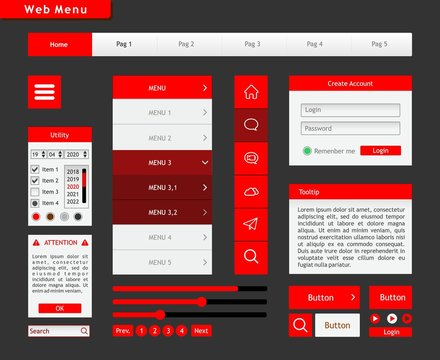 red layout for a website. All the graphic components to build a spectacular web page