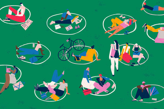 Social distance. Diverse people enjoy a park and leisure area outdoors keeping safe distance. Conceptual illustration.