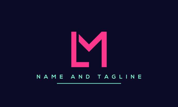 Alphabet letters monogram icon logo ML or LM