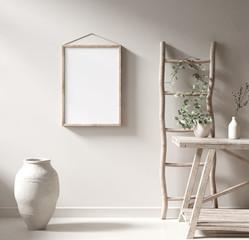 Mockup frame in Nomadic style interior background, 3d render