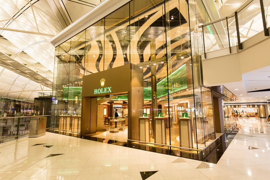HONG KONG-AUGUST 15, 2017: Rolex store at the Hong Kong International Airport; Rolex SA is a Swiss luxury watchmaker founded in 1905 and serves worldwide.