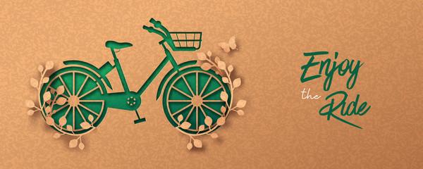 Green paper cut eco plant leaf bike concept