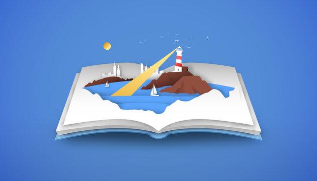 Open book of 3d papercut beach sea coast