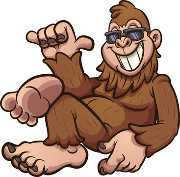 Cool cartoon bigfoot resting and wearing sunglasses. Vector cartoon clip art illustration with simple gradients. All on a single layer.