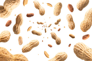 Collection of peanuts falling isolated on white background. Selective focus