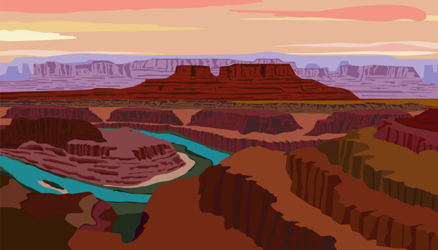 Vector illustration with view of the Colorado River and Canyonlands National Park from Dead Horse Point State Park located in the state of Utah