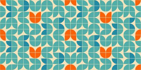 Modèle vectoriel continu de style moderne du milieu du siècle avec des formes florales géométriques colorées en orange, vert turquoise et bleu aqua. Style des années soixante motif géométrique rétro.
