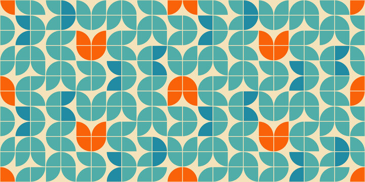 Mid century modern style seamless vector pattern with geometric floral shapes colored in orange, green turquoise and aqua blue. Retro geometrical pattern sixties style.