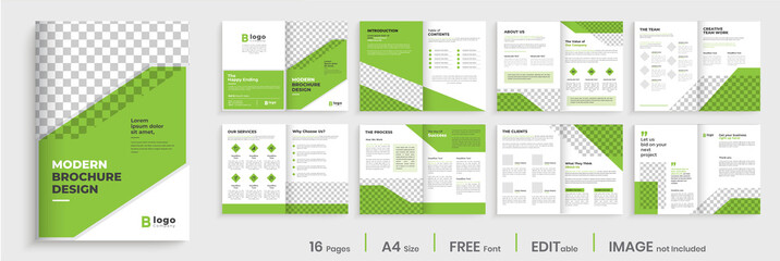 Business brochure design, green minimalist corporate 16 pages brochure template layout, modern creative editable annual report, multipage brochure template design.