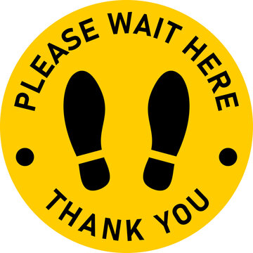 Please Wait Here Thank You Social Distancing Round Floor Marking Sticker Icon mit Text und Shoeprints. Vector Image.