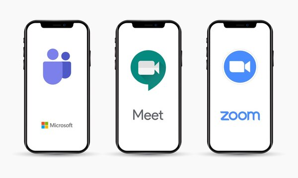 Microsoft Teams, Google Meet and Zoom software on iPhone screen for group collaboration and real-time meetings.