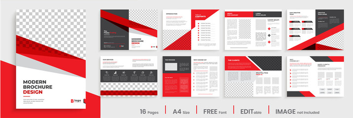 Red corporate business brochure template layout design, modern creative editable annual report template layout, multipage brochure template design.
