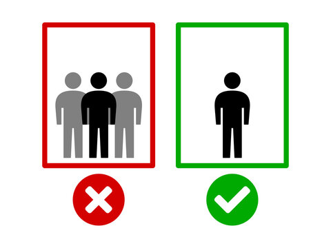 Maintain Social Distancing and Keep Your Distance While Using the Elevator Icon. Vector Image.