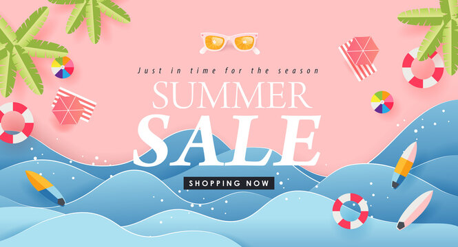 Summer sale design with paper cut tropical beach bright Color background layout banners .Paper art concept.voucher discount.Vector illustration template.