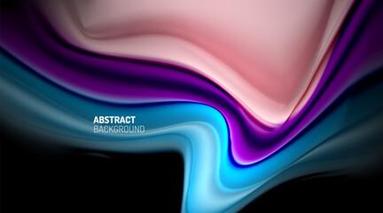 Liquid colors fluid gradients on black background Wall mural