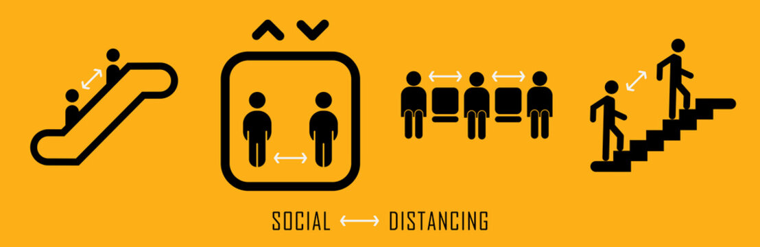 Public Area Social Distancing Signs In Vector Format