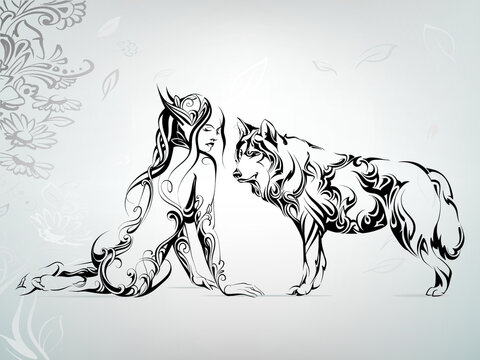 Vector silhouette of a girl with a wolf
